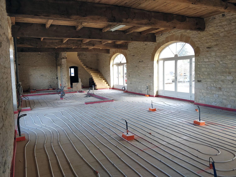 Réalisation du plancher chauffant à Morancé